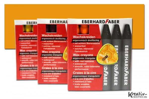 EBERHARD FABER Wachsmalkreiden, 12 Stück, kadmiumorange dunkel