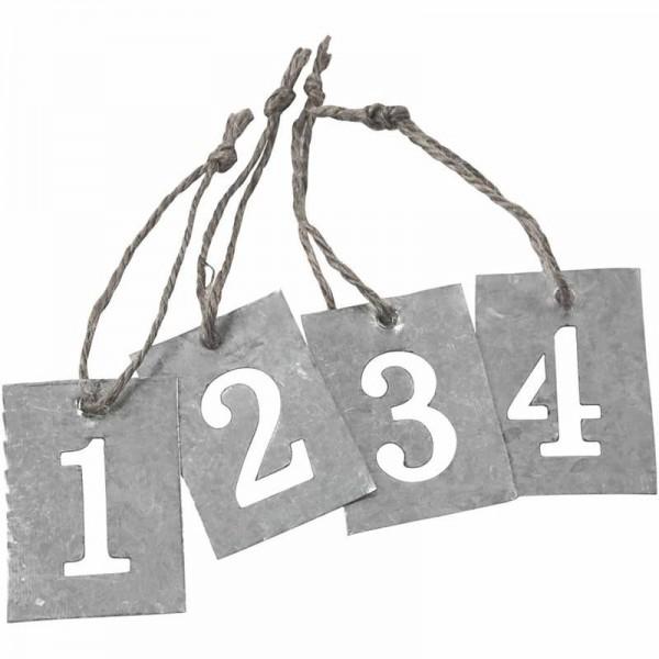 Zinkanhänger, Zahlen 1-4 | 4 x 2,7 cm