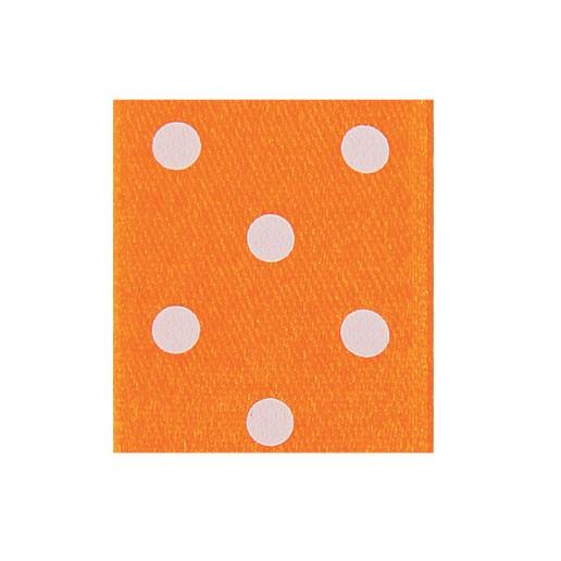 Satinband Punktedruck - doppelseitig, 25mm - orange