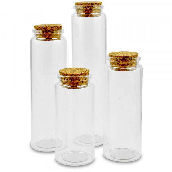 Glasfläschchen mit Korken , ø 4,5cm, 15cm