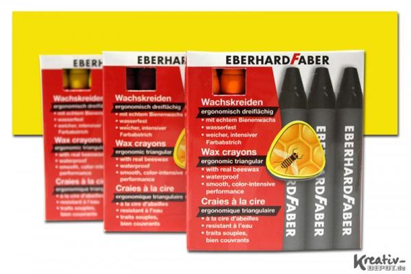 EBERHARD FABER Wachsmalkreiden, 12 Stück, kadmiumgelb