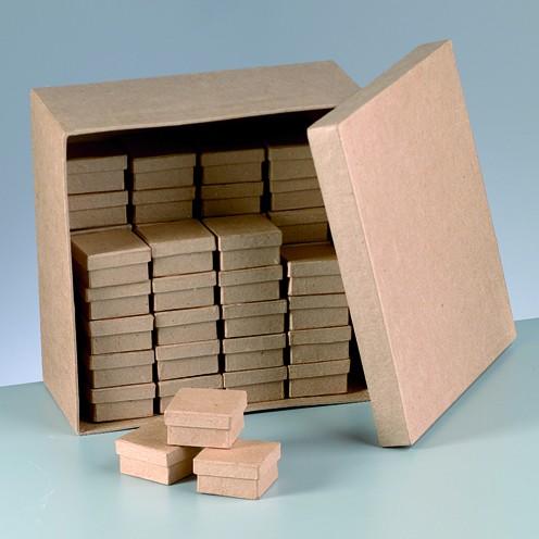 Boxen-Set Quadrat, aus Pappmaché, 51-teilig