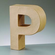 Buchstabe P, 10 x 3 cm, aus Pappmaché