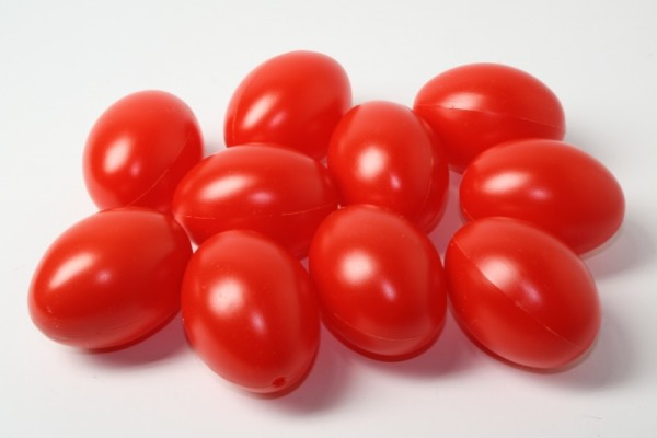 Kunststoff-Eier / Plastikei, 6 cm, 100 Stück, rot