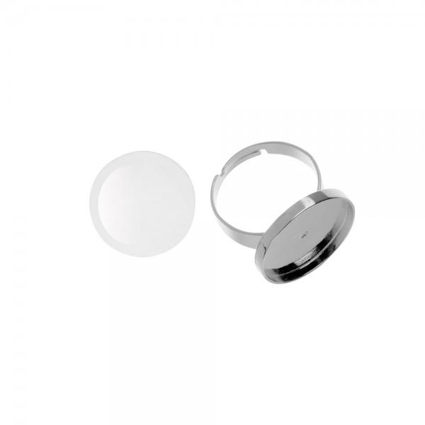 Cabochon + Fingerring, rund - ⌀ 21 mm