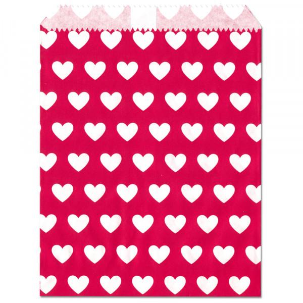 Papier-Geschenktüte, rot, Herzen, 13x16,5cm, 25 Stück