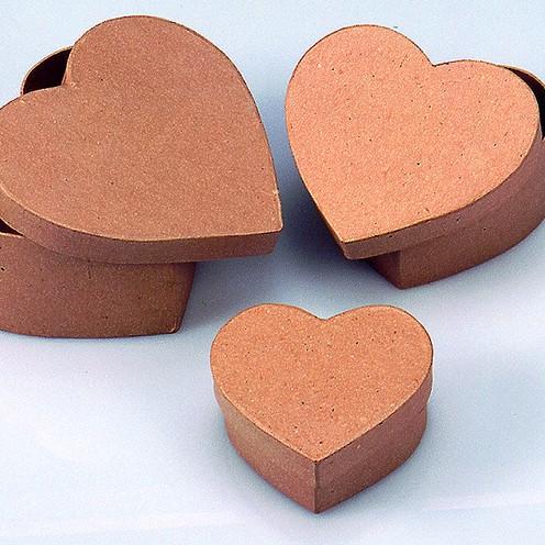 Boxen-Set Herz, aus Pappmaché, 3-teilig