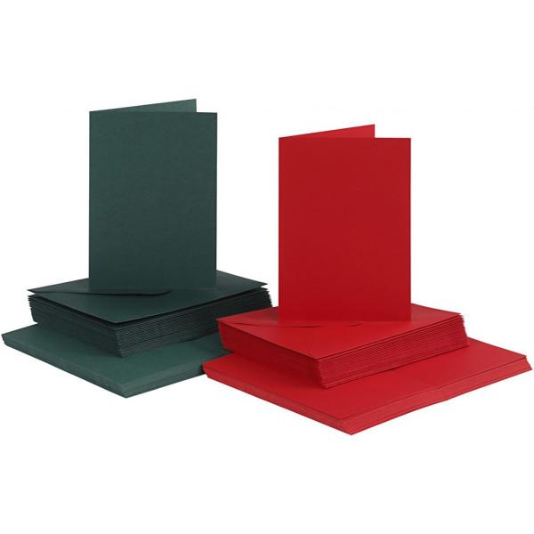 Karten und Kuverts, je 50 Stück, 10,5 x 15 cm, grün / rot