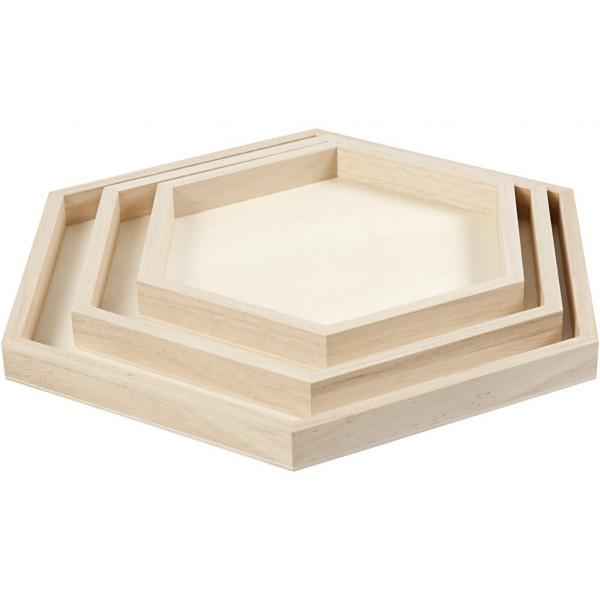 Holz-Tablett-Set, 3 Stück, Ø 21+26+31 cm