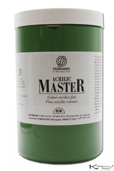 Ferrario Acrilic Master Acrylfarbe, 1000 ml, Chromoxyd stumpf