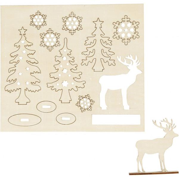 Holzfiguren zum Aufstellen, Wald, Hirsch und Schneeflocken