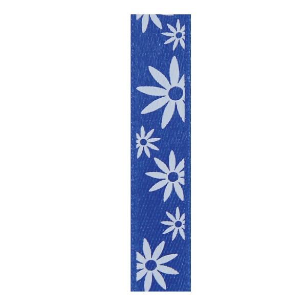 Satinband mit Blumenmuster, 10mm - royalblau