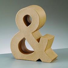 Zeichen &, 5x4,5x2 cm, aus Pappmaché