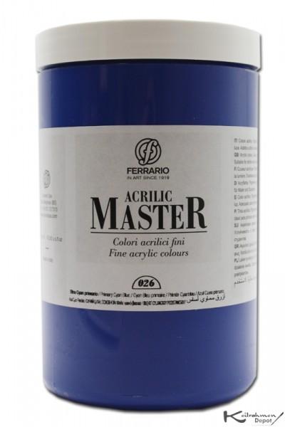 Ferrario Acrilic Master Acrylfarbe, 1000 ml, Cyanblau