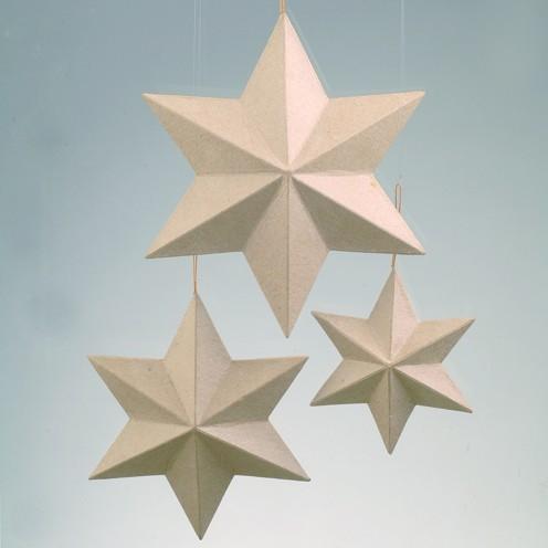 Stern, aus Pappmaché, 6-strahlig, Ø 15 cm