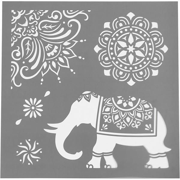 Schablone, 30,5 x 30,5 cm, Ethno-Muster Elefant