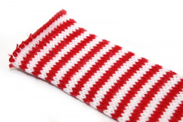 Dänischer Strickschlauch, 1 m x 4 cm, rot/weiß gestreift
