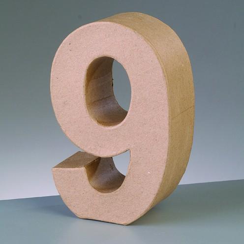 Zahl 9, 10 x 3 cm, aus Pappmaché