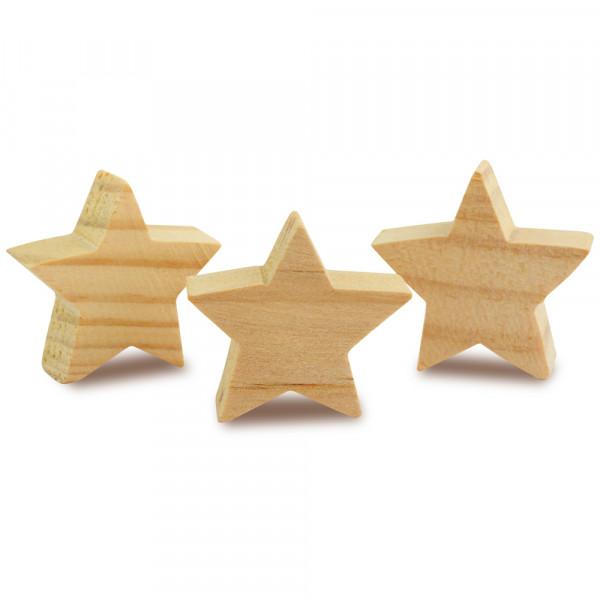 Holz Sterne massiv, 3 Stück
