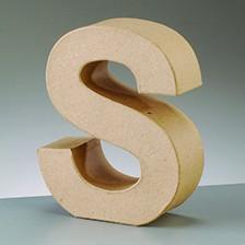 Buchstabe S, 10 x 3 cm, aus Pappmaché