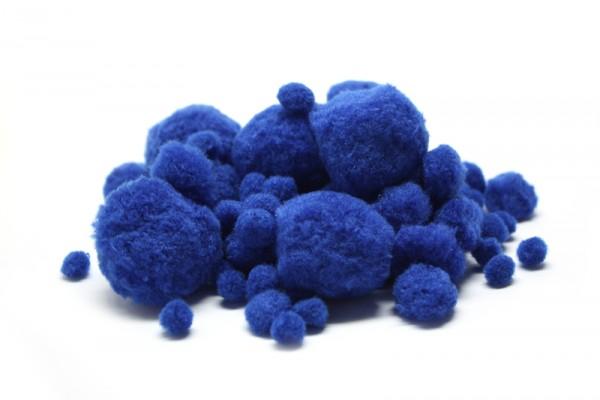 Pompons-Mix, Ø 1 - 4,5 cm, 100 Stück, blau
