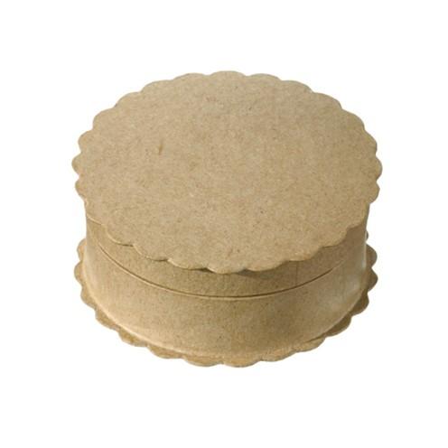 Box, Wellenrand rund aus Pappmaché, 8,5 x 3,5 cm