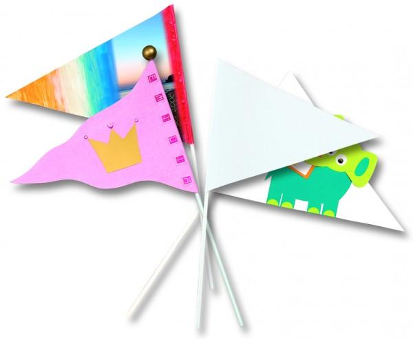 Papierfähnchen Wimpel, unbedruckt, 27 cm, 20 Stück