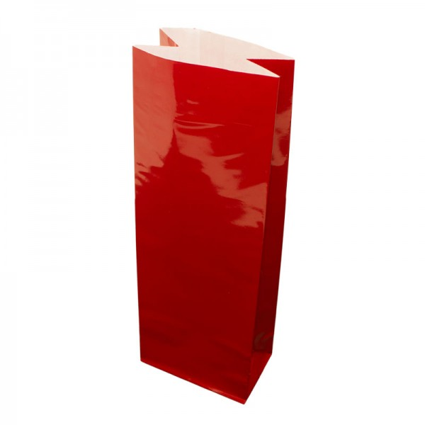 Teetüte / Blockbodenbeutel - rot glänzend