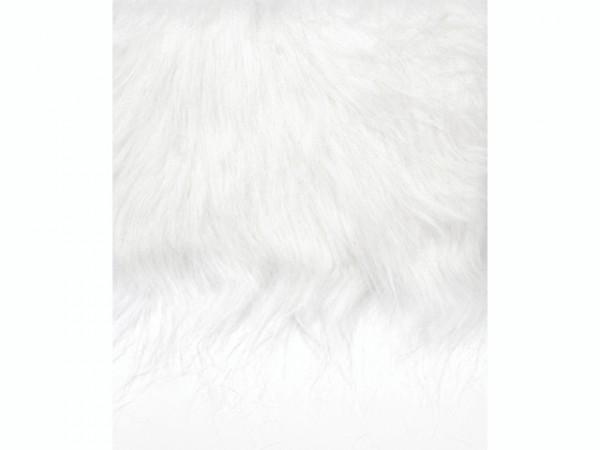 Langhaarplüsch, weiß - 14 x 20 cm