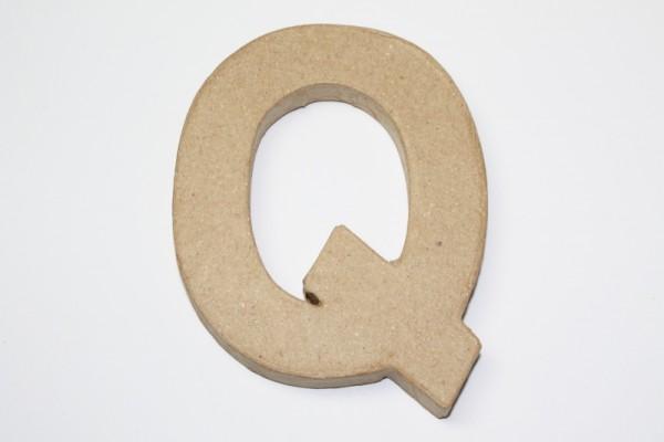 Buchstabe Q, 10 x 1 cm, aus Pappmachè
