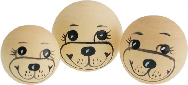 Puppenkopf Teddykopf, aus Holz, 3 Stück