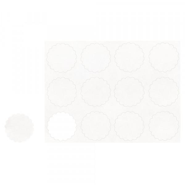 Sticker, 12 Stück, Ø 3,5 cm, weiß