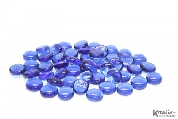 Glas-Nuggets, 200 g, Ø ca. 2 cm, transparent, blau