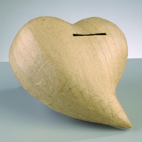 Spardose Herz, aus Pappmachè, 14 x 13 x 7 cm