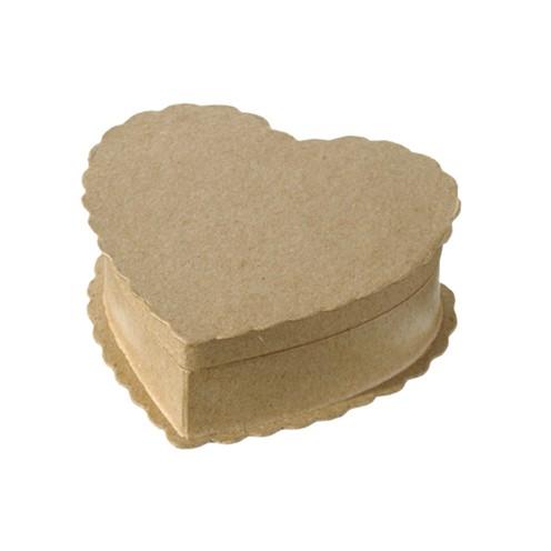 Box, Wellenrand Herz aus Pappmaché, 9,5 x 9 x 3,5 cm