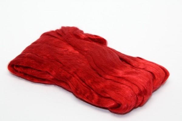 Maulbeerseidenfasern, gekämmt, 10 g, rot glänzend
