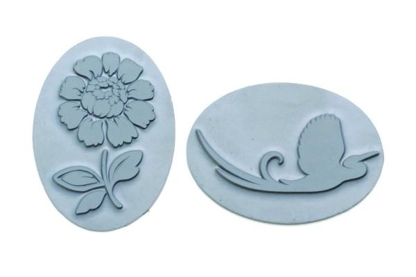 Reliefeinlage Blume/Vogel, oval, 2 Stück