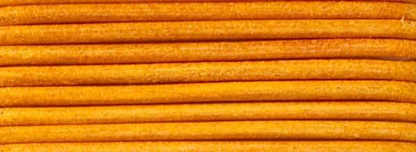 Lederriemen, 2 mm Ø - 1 m, Rindsleder, gelb