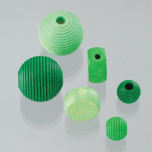 Holzperlen Formen-Mix grünmix, ca. 6-20 mm - 25 Stück