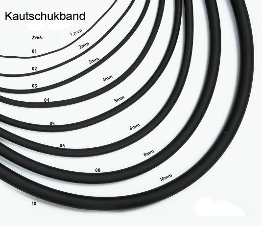 Kautschukband, schwarz, 2 mm, 10 mtr