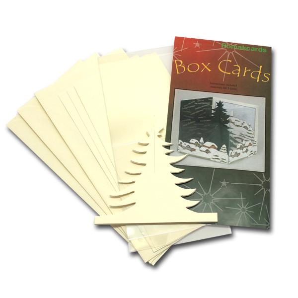 3-D Box Karte, 3er Set, 10x10 cm, Tannenbaum beige