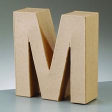 Buchstabe M, 10 x 3 cm, aus Pappmaché
