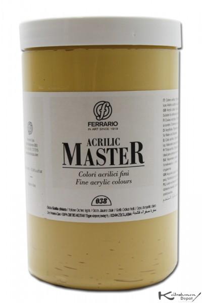 Ferrario Acrilic Master Acrylfarbe, 1000 ml, Lichter Ocker