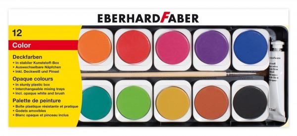 EBERHARD FABER Deckfarbkasten, 12 Farben, 1 Deckweiß