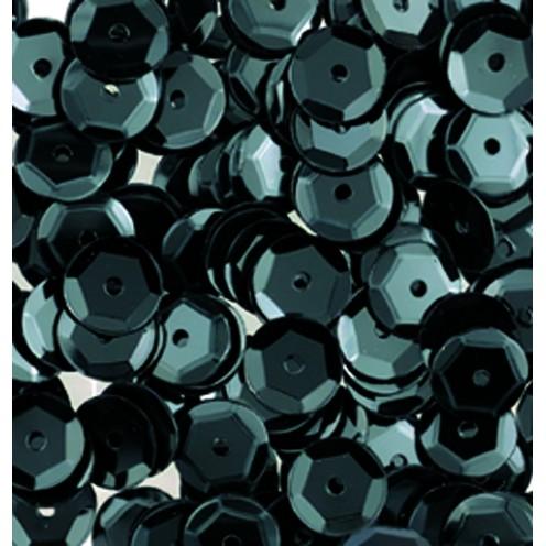 Pailletten, rund, gewölbt, 6 mm, 500 St, schwarz