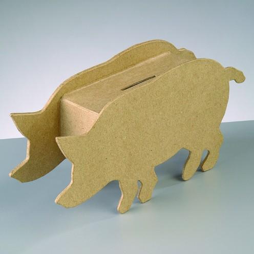 Spardose Schwein, aus Pappmachè, 16 x 10,5 x 5,3 cm