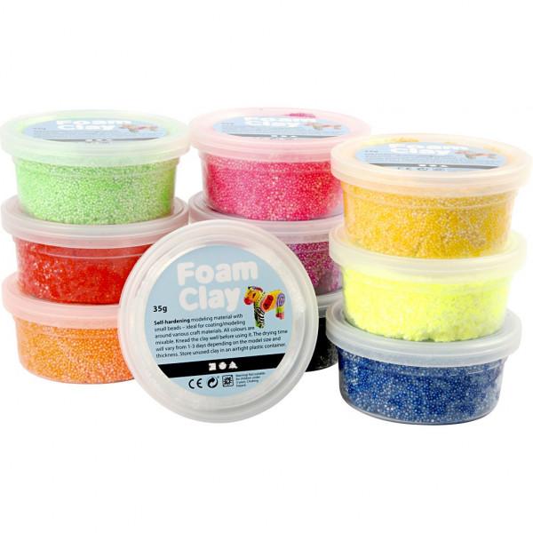 Foam Clay Set, sortierte Farben, 10 x 35g