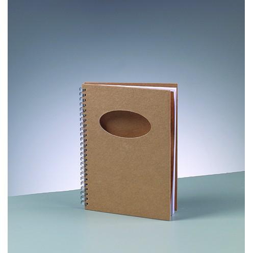 Notizbuch Ausschnitt oval, aus Pappmachè, DIN A5