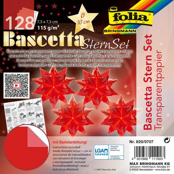 Faltblätter Bascetta-Sterne, 7,5 x 7,5 cm, Transparentpapier rot
