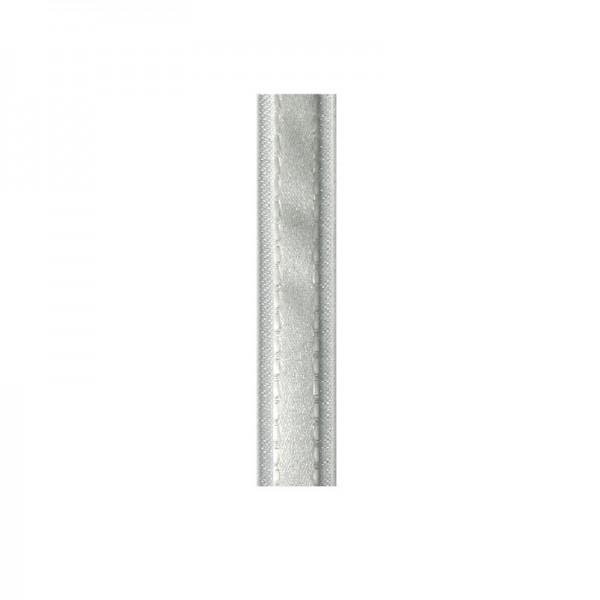 Satinband mit Chiffonkante, 10mm, - weiß